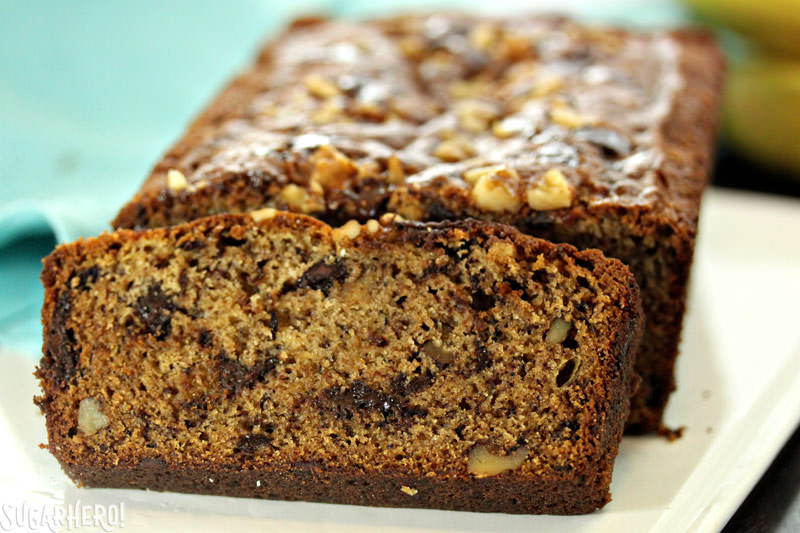 The ultimate banana bread - made with coconut oil and lots of chocolate chunks! | From SugarHero.com