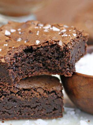Salted Fudge Brownies   From SugarHero.com