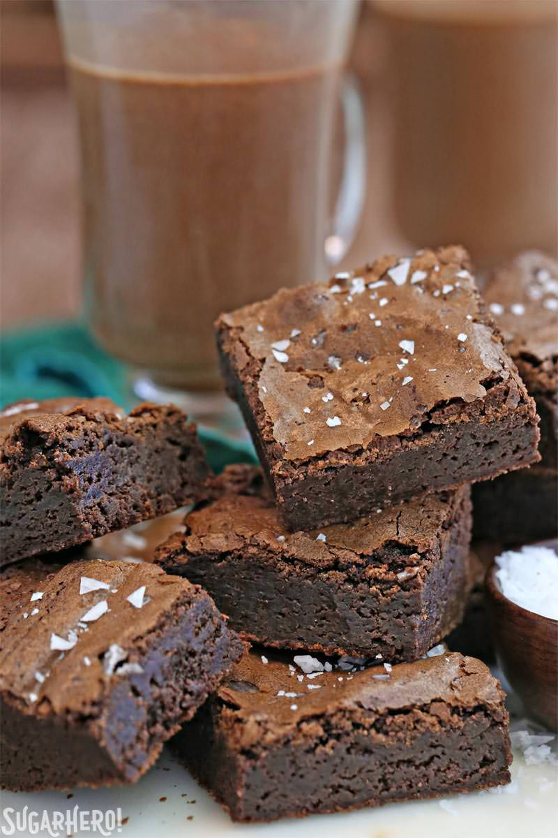 Salted Fudge Brownies - rich and fudgy brownies with big flakes of sea salt! | From SugarHero.com