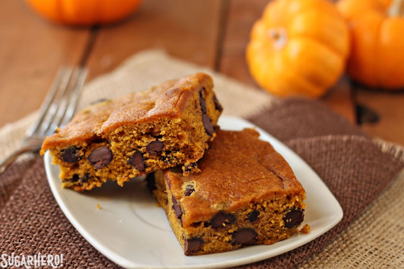 Pumpkin Chocolate Chip Bars | From SugarHero.com