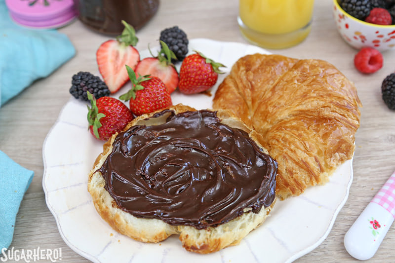 Lick-The-Knife-Clean Chocolate Spread - easy, nut-free chocolate spread that goes on EVERYTHING!   From SugarHero.com