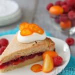 Raspberry Kumquat Sugar Cookie Cake