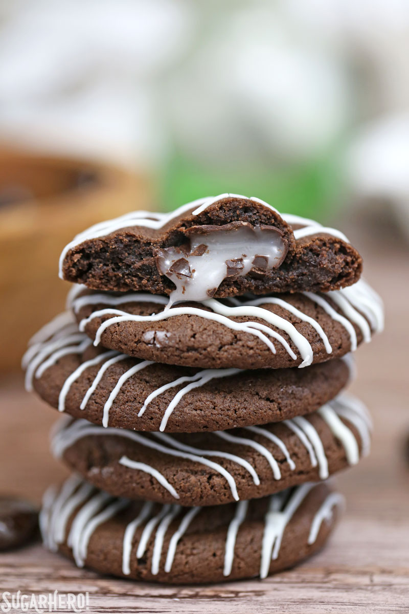 Junior Mint Cookies are soft and chewy chocolate-mint cookies, packed with Junior Mints! | From SugarHero.com