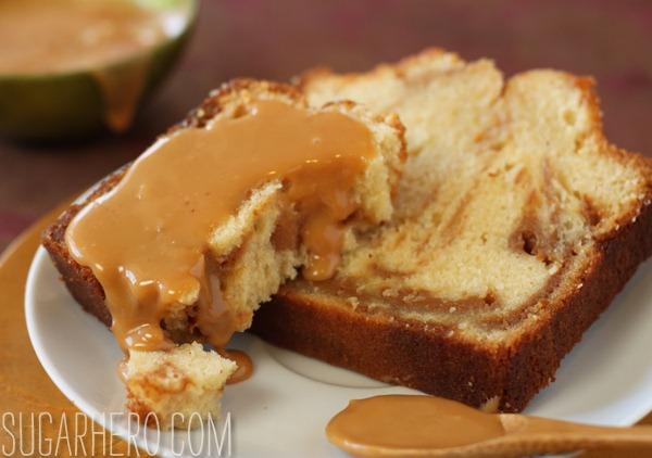Dulce de Leche Swirl Pound Cake - SugarHero