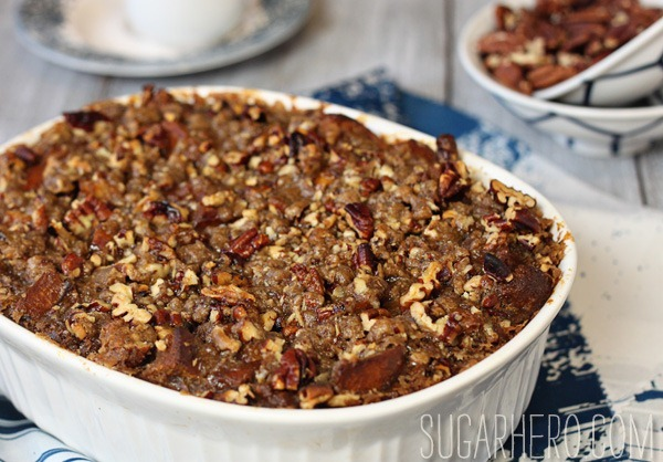 Pumpkin Praline Bread Pudding | SugarHero.com