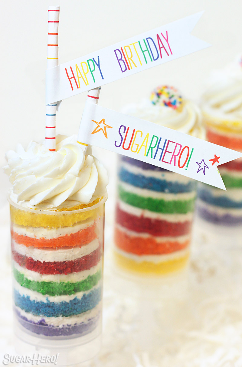 Rainbow Cake Push-Up Pops | SugarHero.com