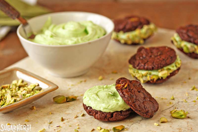 Chocolate-Pistachio Sandwich Cookies | From SugarHero.com