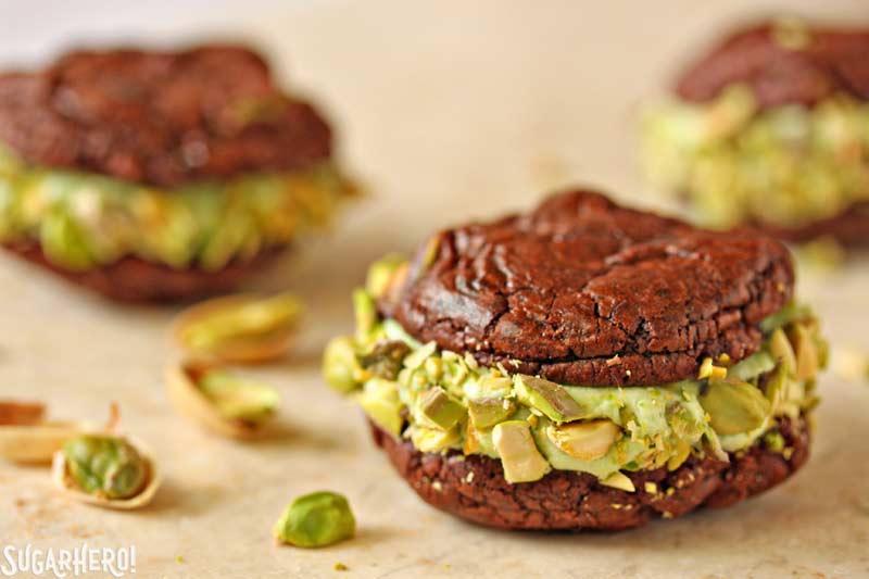 Chocolate-Pistachio Sandwich Cookies | From SugarHero.com