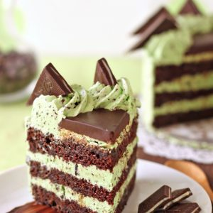 Slice of mint chocolate chip cake on a white plate with a smear of chocolate underneath