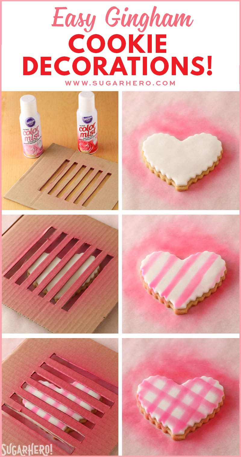 Brown Butter Heart Cookies - photo tutorial showing how to create the gingham pattern on fondant using color mist sprays | From SugarHero.com