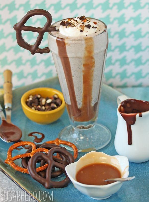 Chocolate-Covered Pretzel Milkshakes | SugarHero.com