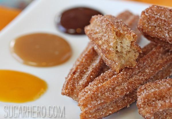 Churros With Three Dipping Sauces | SugarHero.com