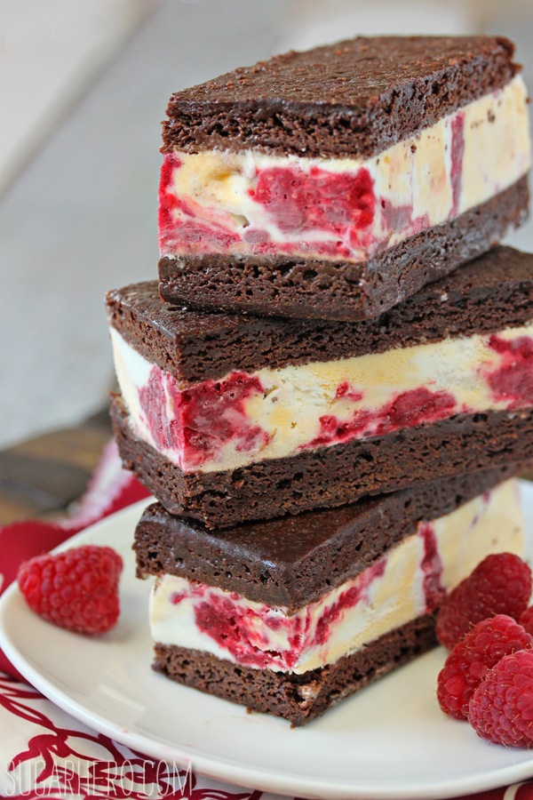 Brownie Raspberry Swirl Ice Cream Sandwiches | SugarHero.com