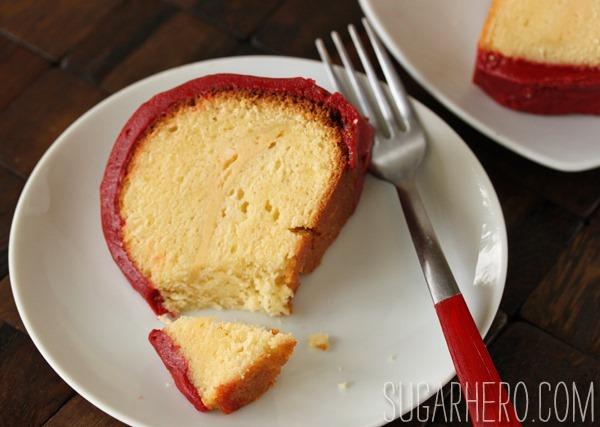 Cream Cheese Cake with Red Velvet Fudge Frosting | SugarHero.com