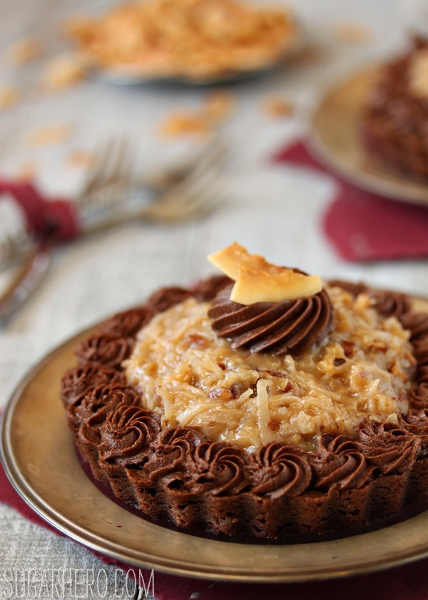 German Chocolate Brownie Tarts | SugarHero.com