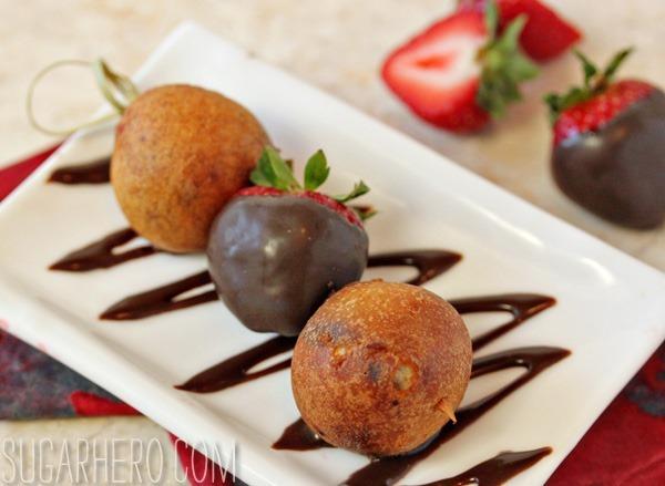 Deep Fried Chocolate-Covered Strawberries | SugarHero.com
