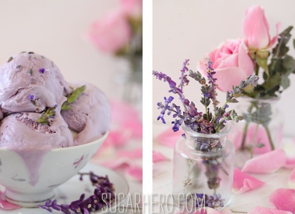 Lavender Rose Ice Cream | SugarHero.com