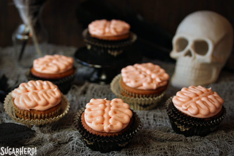 Brain Cupcakes for Halloween | From SugarHero.com
