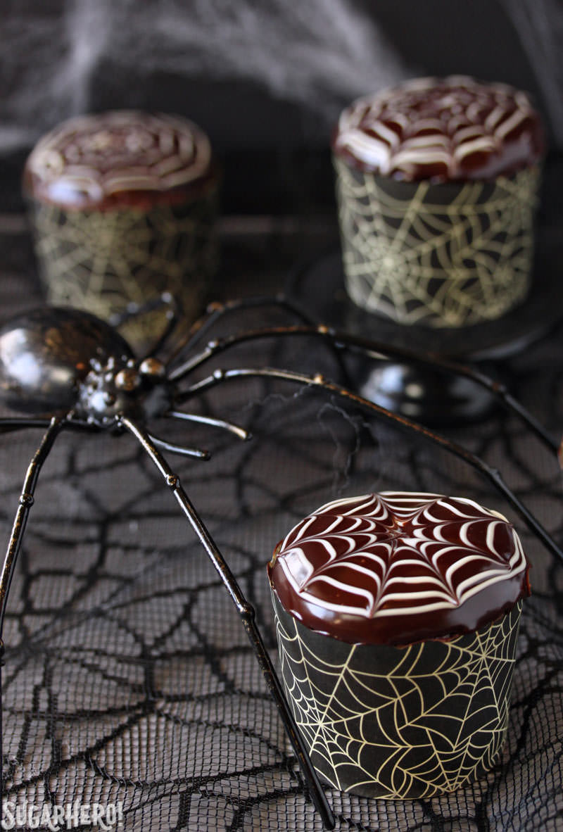 Spiderweb Cupcakes and Chocolate Spiders Recipe | From SugarHero.com