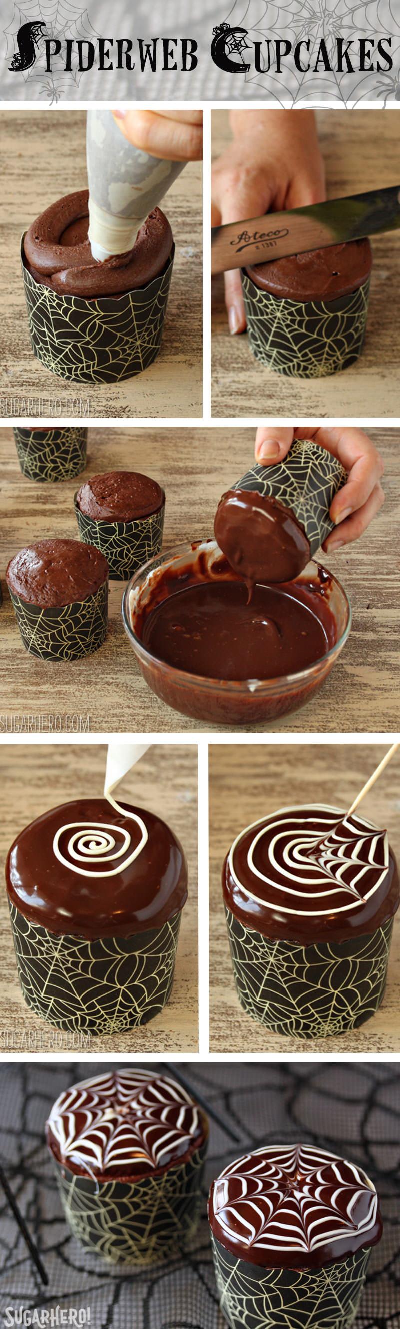 Spiderweb Cupcakes and Chocolate Spiders Recipe   From SugarHero.com