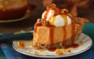 Oatmeal Walnut Butterscotch Pie | SugarHero.com