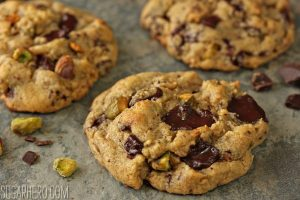 Pistachio Chocolate Chunk Cookies | From SugarHero.com