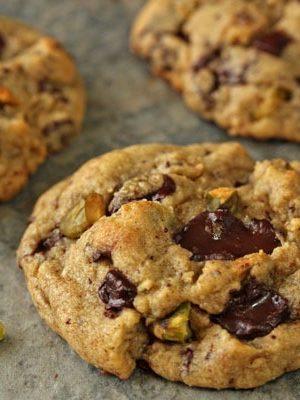 Pistachio Chocolate Chunk Cookies | From SugarHero.com