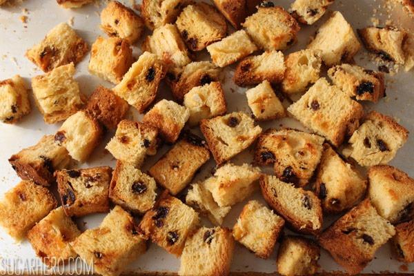 Pannetone Bread Pudding with Eggnog Crème Anglaise | SugarHero.com