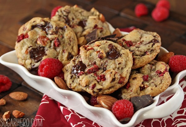 Raspberry Almond Chocolate Chunk Cookies | From SugarHero.com
