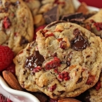 Raspberry Almond Chocolate Chunk Cookies