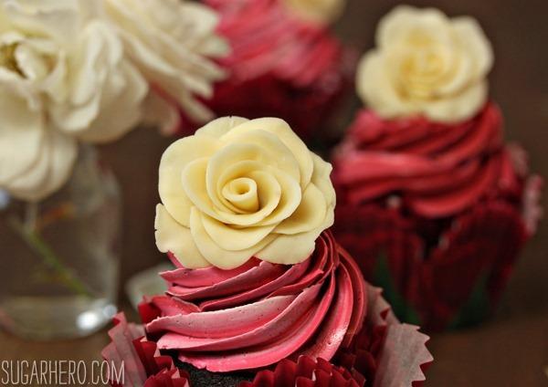 Chocolate Rose Cupcakes   SugarHero.com