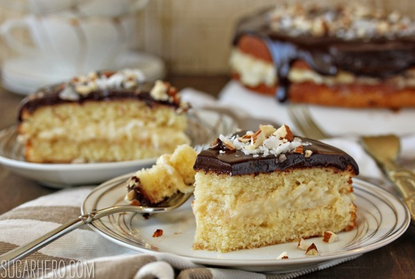 Almond Joy Boston Cream Pie | SugarHero.com