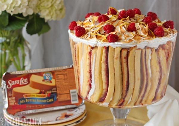 Raspberry Lemon Meringue Trifle | SugarHero.com