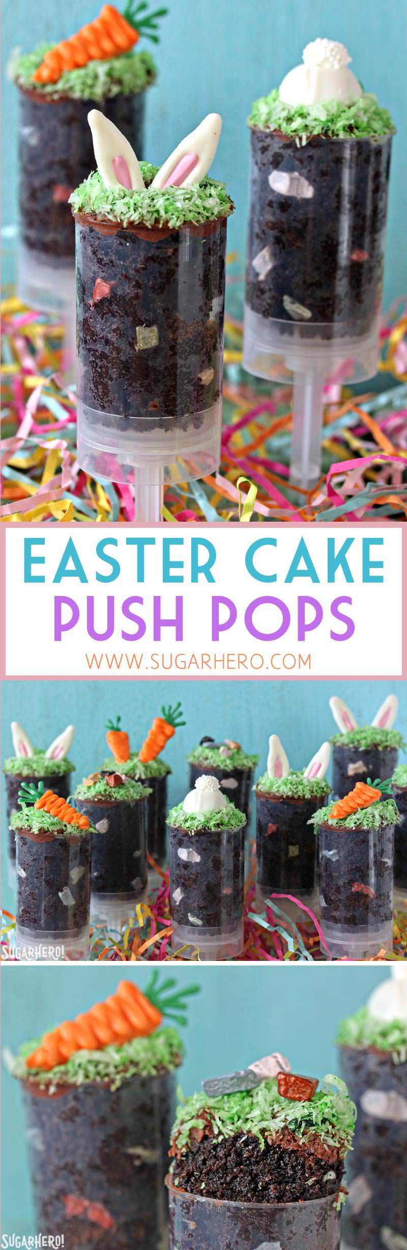 Easter Cake Push Pops - cute cake in a push-pop container, decorated with bunny ears and carrots! | From SugarHero.com