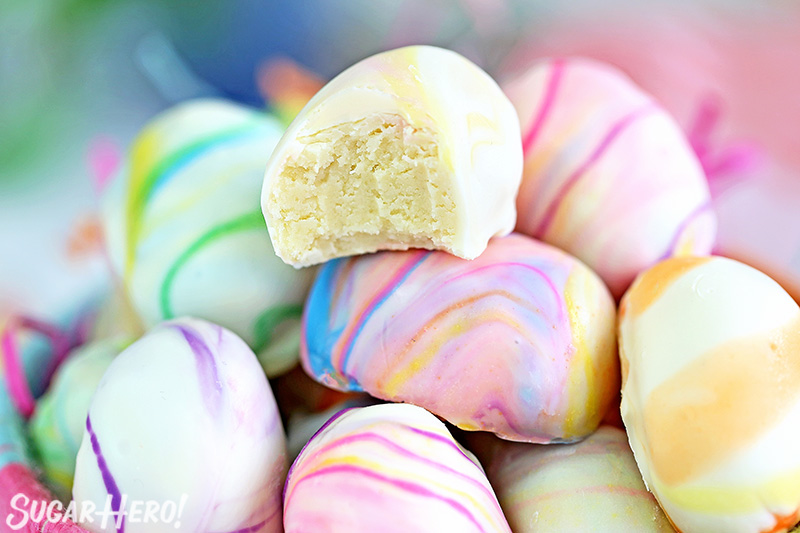 Marbled Easter Egg Truffles - rich white chocolate truffles, swirled with a colorful marble design | From SugarHero.com