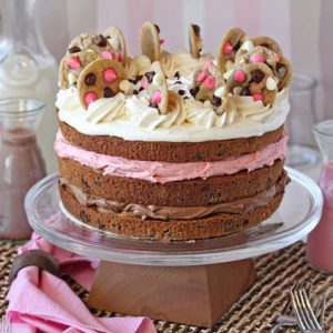 Neapolitan Chocolate Chip Cookie Cake | From SugarHero.com