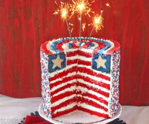 American Flag Layer Cake | SugarHero.com