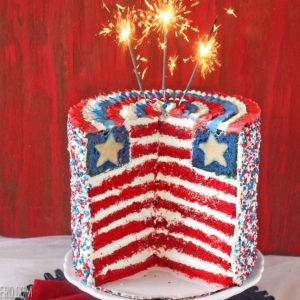 American Flag Layer Cake | SugarHero.com