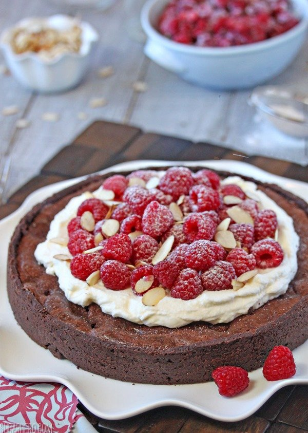 Chocolate Raspberry Almond Truffle Tart | From SugarHero.com
