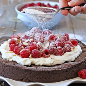 Chocolate Raspberry Almond Truffle Tart | SugarHero.com