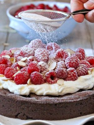 Chocolate Raspberry Almond Truffle Tart | SugarHero.com
