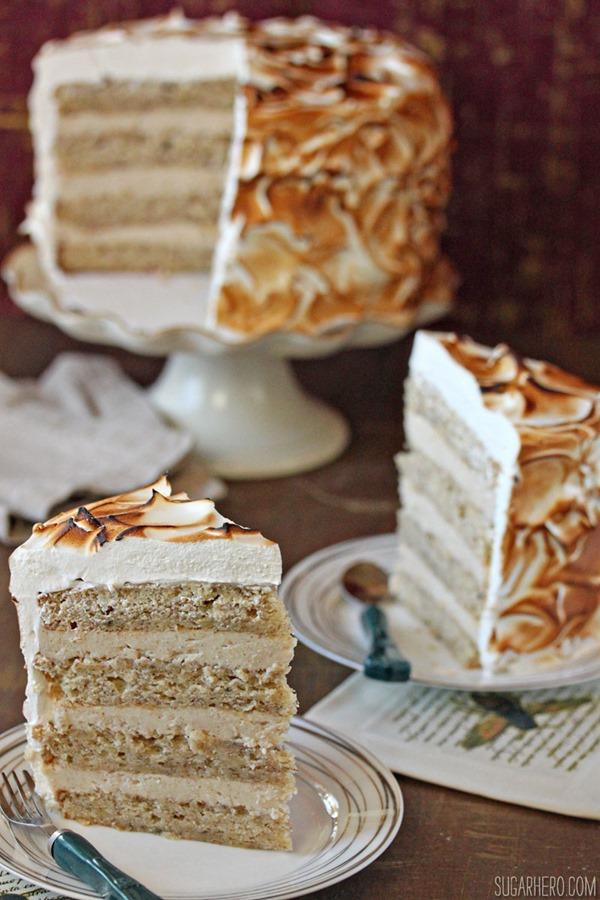 Banana Meringue Cake with Cinnamon-Sour Cream Ganache - SugarHero