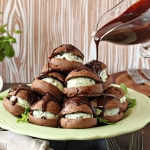 Chocolate Profiteroles with Fresh Mint Chip Ice Cream