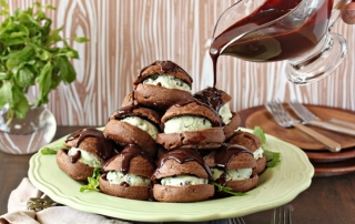 Chocolate Profiteroles with Fresh Mint Ice Cream | From SugarHero.com