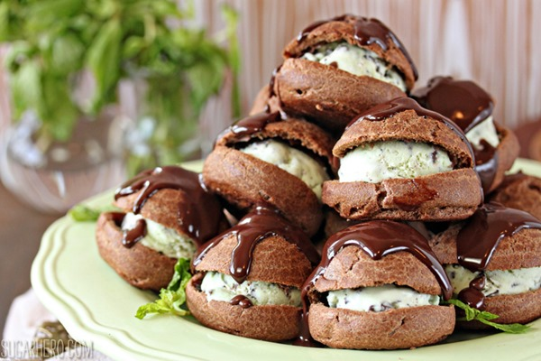 Chocolate Profiteroles with Fresh Mint Chip Ice Cream | From SugarHero.com