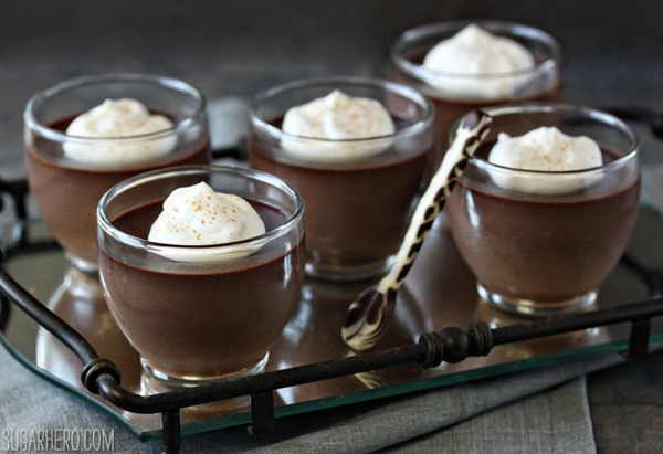 Chocolate Chai Pots de Creme | From SugarHero.com