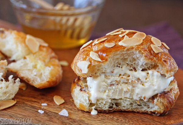 Croissant Salted Honey Ice Cream Sandwiches | From SugarHero.com