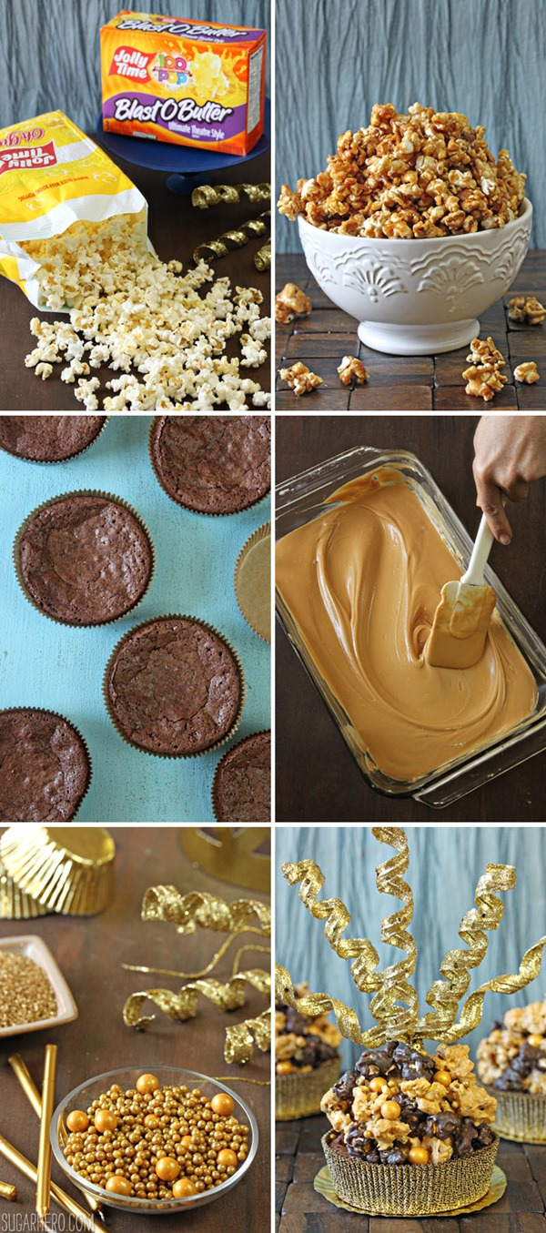 Double Caramel Popcorn Brownies | From SugarHero.com