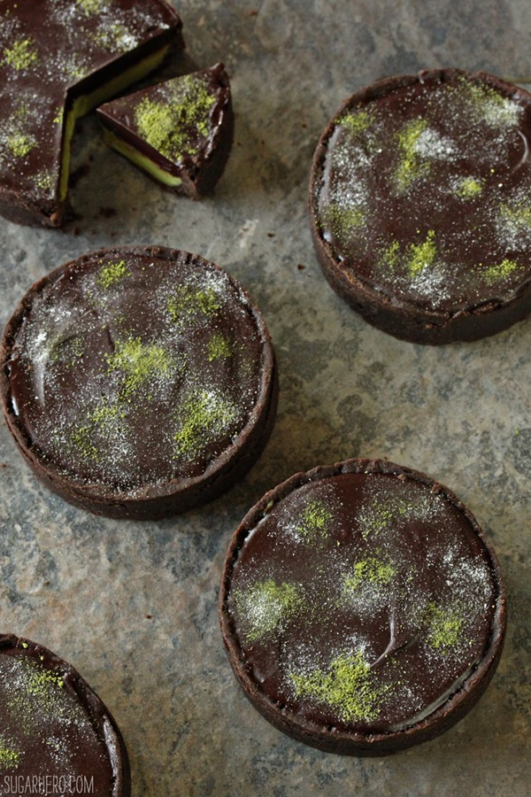 Matcha Chocolate Tarts | From SugarHero.com