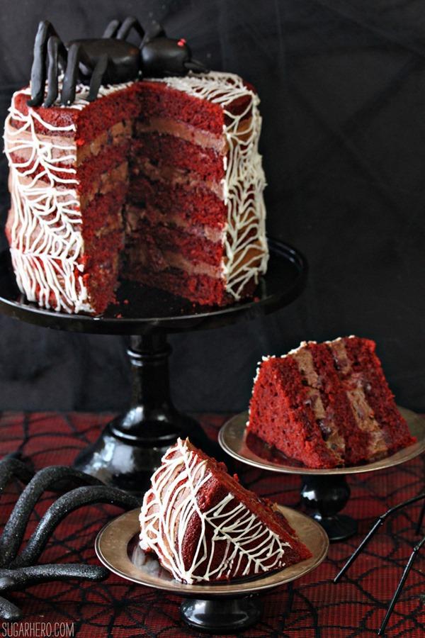 Spiderweb Naked Red Velvet Cake | From SugarHero.com